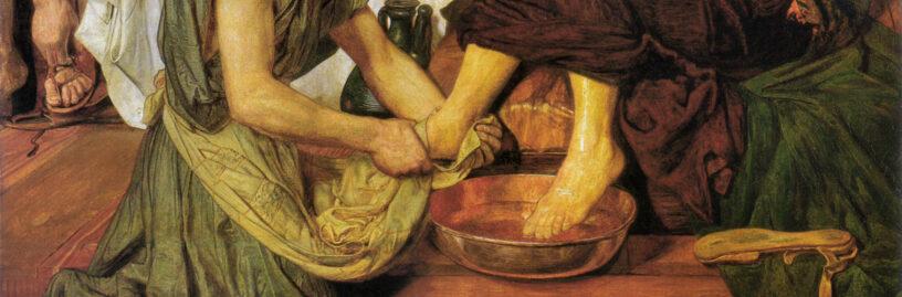 Jesus wäscht die Füße von Petrus.